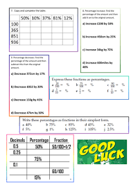 fractions decimals and percentages worksheet by srukin