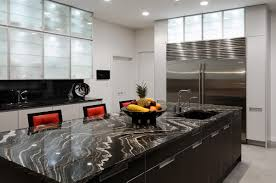 appealing modern kitchen with white kitchen island also marble