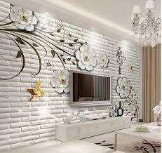 3d bathroom wallpaper Simple three dimensional flowers brick wall