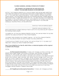 Texas Durable Power Of Attorney Form by 7 Durable Power Of Attorney Form Florida Week Notice Letter