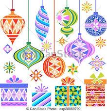 eps vectors of vector christmas vintage ornaments a full set of
