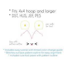 embroidery machine files plush pudgy bat face eyes kawaii