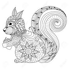 design coloring book hand drawn squirrel zentangle style for coloring book tattoo t