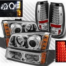 2004 silverado tail lights chevy silverado 2003 2006 chrome projector headlights bumper lights
