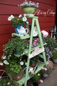 Outdoor Garden Crafts - diy wooden plants ladder crafts garden ideas flowers outdoor