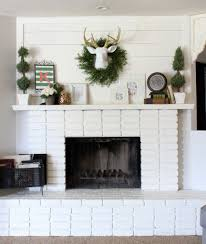 diy planked mantle and white brick fireplace wood planks diy
