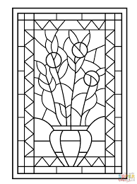 flower vase stained glass coloring page free printable coloring
