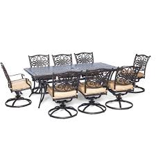 Patio Dining Sets For 4 by Hanover Traditions 9 Piece Aluminium Rectangular Patio Dining Set
