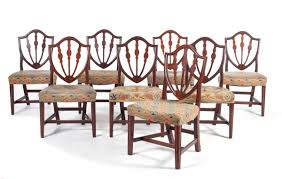 assembled set of eight federal style mahogany shield back side