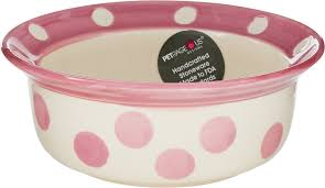 bowl designs petrageous designs polka paws deep pet bowl pink 2 cups chewy com