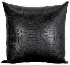 Decorative Pillows Modern Croc Faux Leather Decorative Throw Pillow Modern Decorative