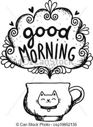 vectors of good morning sketch with cup of coffee and cat vector