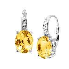 citrine earrings 4 ct citrine earrings with diamonds in sterling silver 4