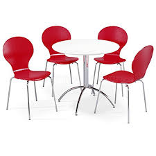 Chrome Bistro Chairs Kimberley Dining Set White Table And 4 Red Chrome Metal Keeler