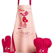 tablier de cuisine enfant personnalisé tablier enfant personnalisé avec gant toque fleur