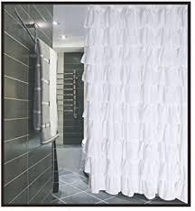 Fabric Shower Curtain With Window Ruffled White Fabric Shower Curtain Home Kitchen