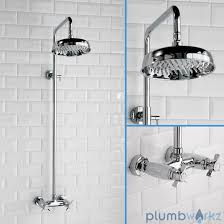 traditional bathroom mixer shower exposed round chrome rigid riser
