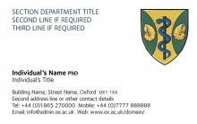 Job Title On Business Card Business Cards University Of Oxford