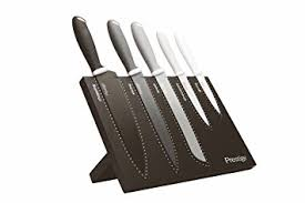 prestige kitchen knives prestige stainless steel 6 magnetic knife block set black