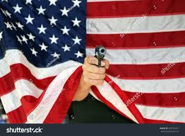 2nd Amendment Flag Pistol Pointed Directly Camera Behind American Stock Photo