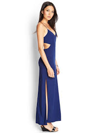 blue maxi dress forever 21 cutout maxi dress in blue lyst