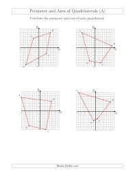perimeter and area of quadrilaterals on coordinate planes a