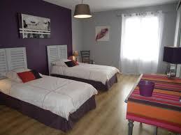 idée peinture chambre couleurs aubergine gris chambre