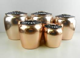 copper kitchen canister sets kromex vintage 5 pc copper kitchen canister set cookies flour