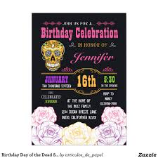 Halloween Birthday Invitations by Birthday Day Of The Dead Sugar Skull Invitation Sugar Skulls