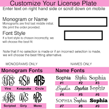 3 initial monogram fonts personalized car tag auto tag colorful floral