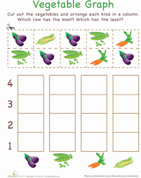 cut out graph vegetables worksheet education com