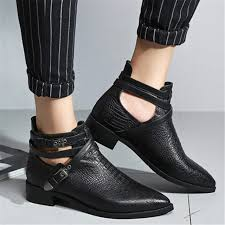motorcycle booties black pointed toe flat summer boots real leather autumn shoes buckle