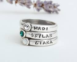 Custom Rings With Names Stackable Birthstone Rings Stamped With Names Silver