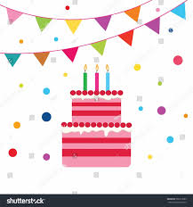 Dessert Flags Playful Birthday Cake Candles Colorful Flags Stock Vector