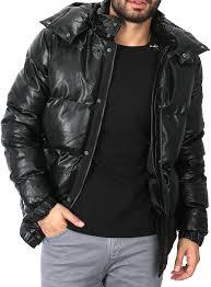 men winter jackets leather black