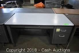 metal desk with laminate top cash auctions auction surplus desks workstations tables item