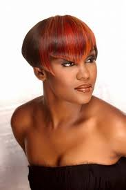 highlight african american short hairstyles with cute bangs for