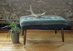 Cloth Ottomans Vintage Upholstered Mid Century Modern Footstool Or Bench With