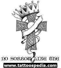 ribbon wrapped and crowned cross tattoo design sketches cross