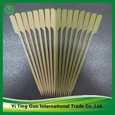 plastic fruit skewers bamboo paddle skewer with handle or green skin paddle