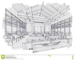 sketch interior perspective restaurant black and white interior