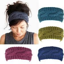 winter headbands women s wool crochet turban headband winter warm elastic hairband