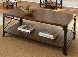 Rustic Industrial Coffee Table Windham Solid Birch Wood Iron Contemporary Coffee