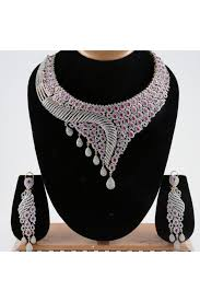 indian bridal necklace sets images American diamond studded indian bridal necklace set JPG