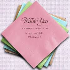 personalized wedding napkins thank you printed wedding napkins set of 100