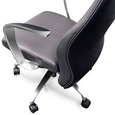 Black Leather Accent Chair Wrigley Genuine Leather Aluminum Base High Back Executive Chair