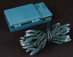 50 led battery operated lights white on green wire