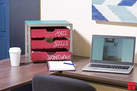 red office desk accessories how to make a chalkboard desk organizer with chalkboard paint
