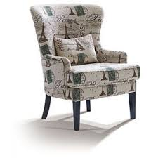 Modern Fabric Chairs Alluring Cream Fabric Flower Pattern Wing Chair Design Come With