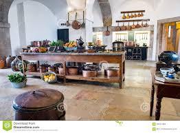 old medieval castle kitchen equipment vintage pena palace stock